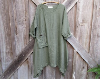 linen dress tunic in moss olive green contemporary Ethnic with hanging pocket 00AK ready to ship