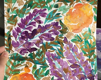 Warm golden peonies and lavender watercolor floral painting 9x12 in