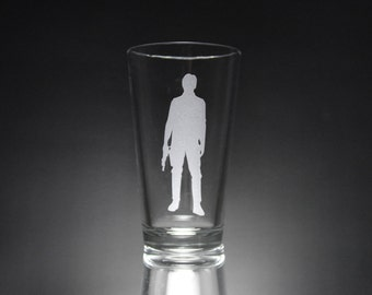 Han Solo Inspired Silhouette Etched Glass, Star Wars, Personalized Gift, Unique Gift, Custom Glass, Glassware.