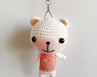 Amigurumi Bear Charm, Crochet Bear Charm, Amigurumi Keychain, Crochet Keychain, Gift For Her, Couple Gift Ideas, Valentines Gift Ideas