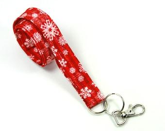 FLURRIES Fabric Lanyard, Fabric Badge Holder, Christmas Lanyard, Holiday Lanyard, Flurries Badge Holder, Red lanyard