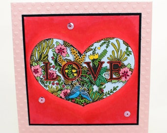 Love card | Valentine's card | Just Because card | Love Garden card | Romance card | Floral card | OOAK Handmade card