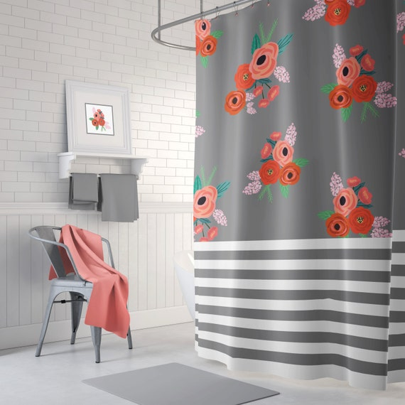 navy and orange shower curtain. Stripes and Floral Shower Curtain  Navy Blue Coral Red Green White Light Pink Flowers Leaves Home Decor Teen Girl Bathroom