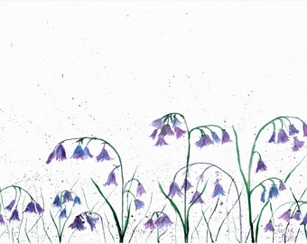 Original Watercolor painting of Bluebells, One of a kind