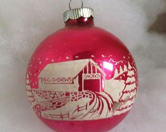 Vintage large Shiny Brite Christmas ornament, mercury glass ornament, covered bridge stencil ornament, hot pink 3 inch ball
