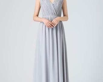 prom chiffon dress, boho wedding dress, sleeveless dress with pleated bodice, boho maxi dress, party dress, summer dress women 1911
