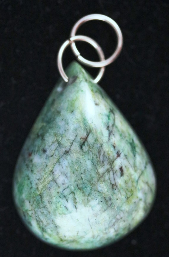 Emerald Pendant, green cabochon, brass bail 136ct