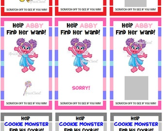 Sesame Street Elmo / Cookie Monster / Abby Scratch Off Cards Party Game [Set of 12]