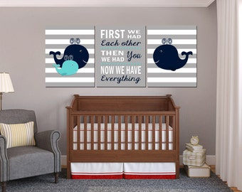 Nautical Nursery Art, Baby Boy Nautical nursery, Whale nursery Art, Whale Nursery Decor, First We had each other, Printable Nursery 16x20