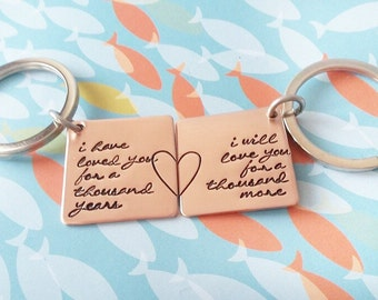 A Thousand Years / Couples Key chains / Partners / His and Hers / Hers and Hers / His and His / Hand Stamped