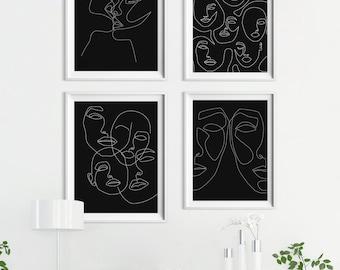 Single Line Art Print : One line faces etsy