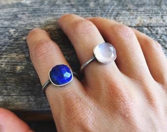 Sterling silver ring - gemstone ring - rose quartz ring - lapiz lazuli ring - adjustable ring - sterling silver gemstone ring