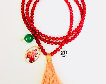 Durga Necklace With Red Corals, Yoga Necklace, inspiration jewelry, tassel necklace, durga necklace