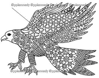 Hawk Zentangle Coloring Page