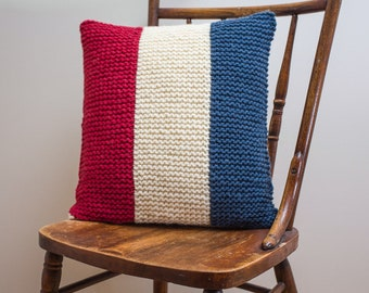 """Nautical Signal Flag """"T"""" Pillow Cover - knit in wool"""