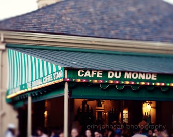 new orleans photograph french quarter fine art new orleans art green decor cafe decor kitchen decor art Cafe du Monde Early Morning