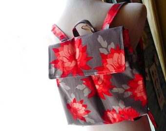 Grey Red Floral Feeding Tube Backpack - Custom Fabric - Light weight