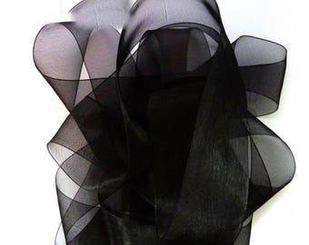 Black 6 mm wide organza Ribbon Spool 32 meters