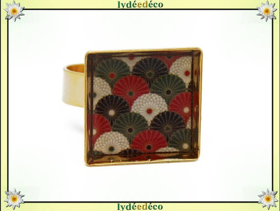 Square fan Japan gold plated 24 carat 24 K resin red green white black 17mm adjustable brass ring