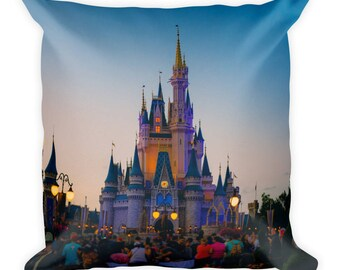 Cinderalla Castle at Dusk Square Pillow