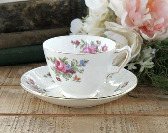 Vintage Royal Victoria Tea Cup and Saucer Set, Fine English Bone China Tea Party, Downton Abbey, Housewarming Gift Inspired