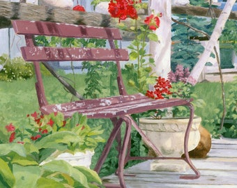 Summer Landscape bench flowers Giclee Reproduction 10 x 13