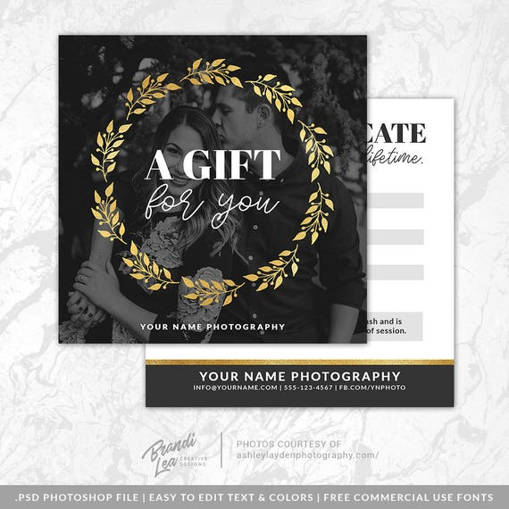 Photography gift certificate template photoshop gift card yelopaper Gallery