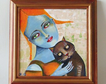 """Original painting on canvas, acrylic painting on canvas """"The cat"""""""