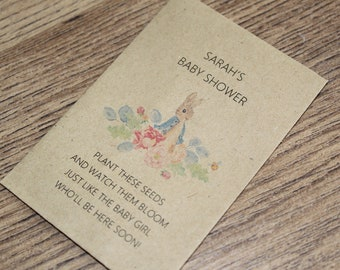 Personalised Baby Shower Seed Packets Flowers Favour Boy Girl Peter Rabbit