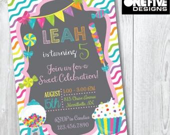 Candy Party Birthday Invitation - Printable (5x7)