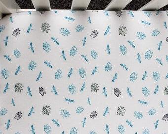 Blue Dragonfly Fitted Crib Sheet. Crib Bedding. Baby Bedding. Blue Crib Sheet.