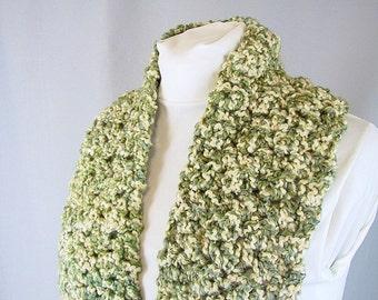 Chunky Crochet Scarf - Green and Cream Irish Tweed Scarf - Handmade Thick Knit Unisex Scarf