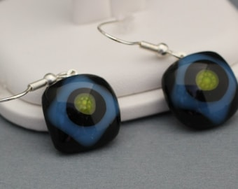 Fused Glass Earrings - Black and Blue  with Flower Center