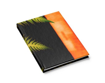 Hardcover Journal  Diary Classy Palm Frond Leaf Exotic Tropical Jungle Theme Boho Minimal