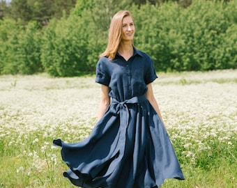 Linen dress, Bridesmaid dress, Linen dresses, Linen Shirt Dress, Blue Linen Dress