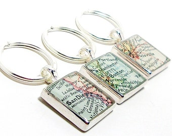 Map keychain etsy custom vintage map keychain you select location worldwide one map keyring personalized gift for boyfriend girlfriend husband anniversary gumiabroncs Gallery