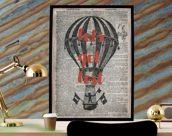 Let's Get Lost, Hot Air Balloon, Steampunk Art, Dictionary Printable, Printable 8x12, Typography Printable, Wanderlust Art,Balloon Printable