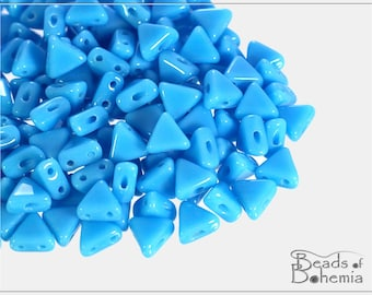 10 g Opaque Sky Blue Kheops par Puca, Two Hole Beads 6x6 mm (9064)