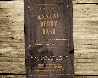 Kentucky Derby Party Invitation - Mens Derby Party Invite - Kentucky Derby Party - Derby Dash - Race - Horse Races - KY Derby Classic