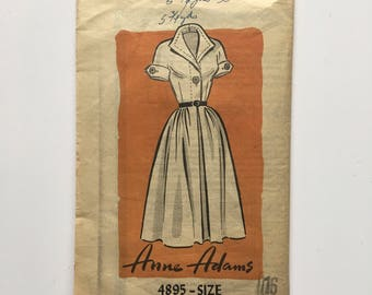 1950's Anne Adams #4895 Classic Shirtwaist Dress Size 16 Unmarked Mail Order Pattern