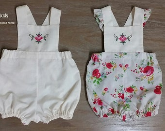 Upcycled Vintage Cross stitch Embroidered Linen Rompers 6-9 months (size 0)