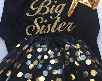 Big Sister outfit - Big sister shirt - black and gold - big sis clothes - Girls Big sister outfit