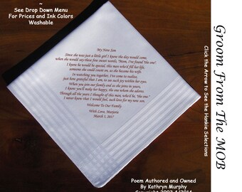 Grooms Gift Handkerchief From the MOB  0703 Sign & Date Free!           2 Wedding Hankerchief Styles and 8 Ink Colors. Grooms Wedding Hankie
