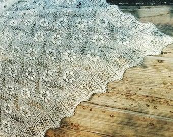 "Hand knitted Haapsalu shawl ""The Flowerfield"", traditional Estonian lace, 100% wool."