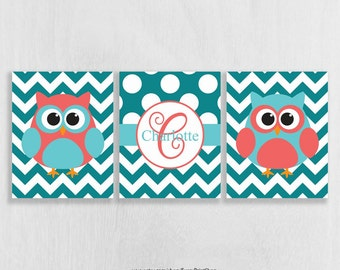 Nursery Wall Decor Print Set of 3 - Coral Aqua and Teal Nursery - Owl Wall Art Prints - Bathroom Wall Art - Art for Girls - Personalized