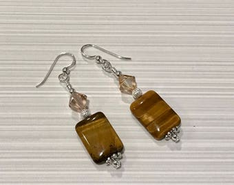 Sterlinv Silver, Swarovski Crystal and Tiger's Eye Earrings - FREE SHIPPING