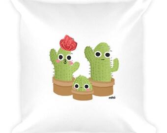 Cactus Family Pillow, Plant Pillow, Family Love Pillow.