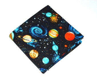 Space Fabric, Planet & Stars, Cotton Fabric, Quilting Fabric, Fabric by the Yard, Galaxy Fabric, Planets Fabric, Solar System Fabric, T-1