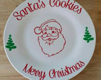 Santa cookie plate with milk glass, santa plate, cookies for Santa, personalized set