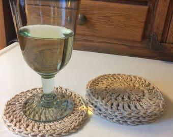 Handmade crochet cotton coasters (set of 4)